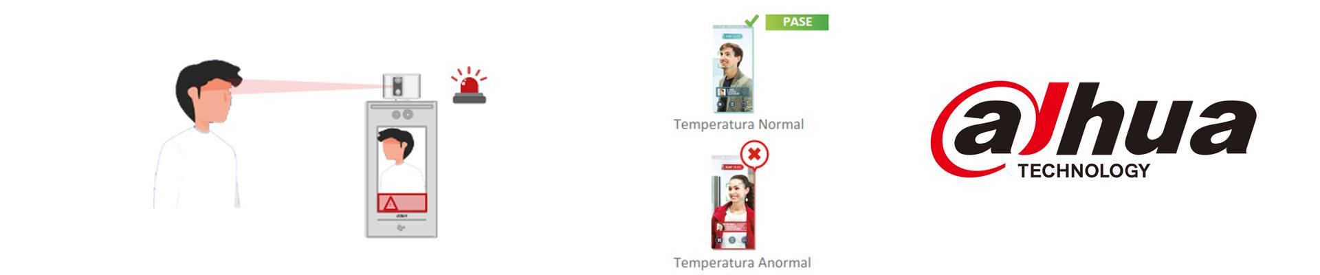 Alerta visual y de voz cuando se detecta una temperatura anormal. La información de alarma se envía al software de administración al mismo tiempo, una vez que la plataforma de administración está conectada.